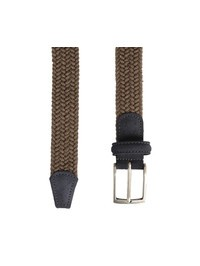 DELL'OGLIO - Beige pleated flannel belt, grey detail