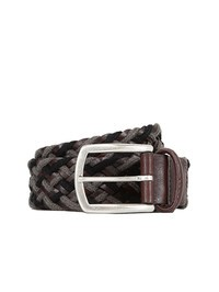 DELL'OGLIO - Grey and brown pleated leather and fabric belt