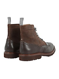 BRUNELLO CUCINELLI - Brown leather and suede brogue boots
