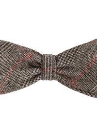 DELL'OGLIO - Beige tartan wool bow-tie red detail