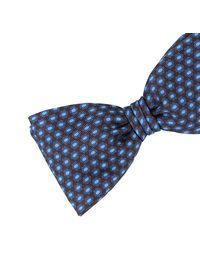 DELL'OGLIO - Brown silk bow-tie, contrast blue and light-blue polka dots