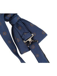 DELL'OGLIO - Blue silk bow-tie, contrast brown macro-polka dots