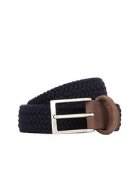 DELL'OGLIO - Blue pleated felt belt,  brown detail