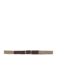 DELL'OGLIO - Beige pleated felt belt,  brown detail
