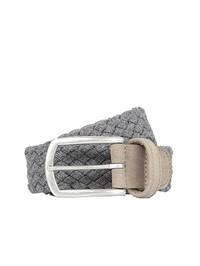 DELL'OGLIO - Grey pleated felt belt,  beige detail