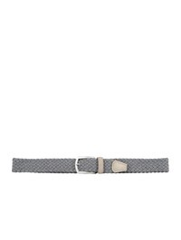 DELL'OGLIO - Grey pleated felt belt,  beige detail