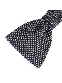 DELL'OGLIO - Black and white hound's-tooth wool bow-tie