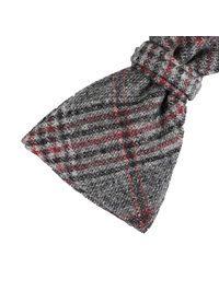 DELL'OGLIO - Dark grey tartan wool bow-tie red detail