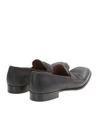 DELL'OGLIO - Grey leather loafers