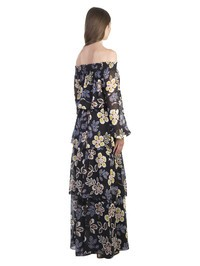 TORY BURCH - Black silk indie maxi dress with floreal print