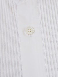 DELL'OGLIO - Pleated detail white cotton shirt