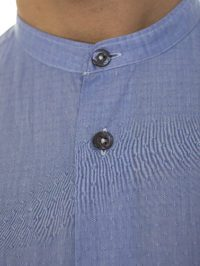 DELL'OGLIO - Micro jacquard patterned light blue cotton shirt