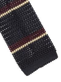 DELL'OGLIO - Burgundy and gold striped blue silk tricot tie