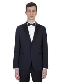 LARDINI - Bllue wool tuxedo jacket