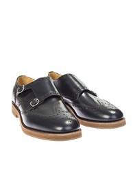 CHURCH'S - Blue leather monkstrap shoes