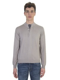 DELL'OGLIO - Beige cotton with gray collar Serafino sweater