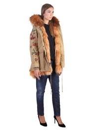 GIOVI - Embroidered cotton parka with detachable inner fur