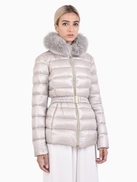 HERNO - Claudia fox fur nylon padded jacket