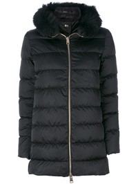 HERNO - Fox fur nylon padded jacket
