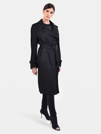 TOM FORD - Leather inserts trench coat
