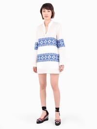 TORY BURCH - Embroidered cotton dress