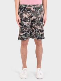 VALENTINO - Logo print cotton blend shorts