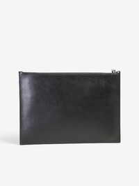 KENZO - Logo patch leather clutch