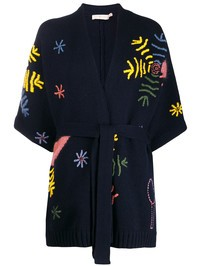 TORY BURCH - Embroidered wool blend cardigan