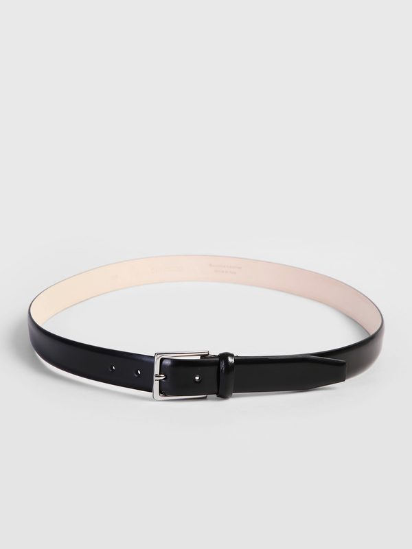 DELL'OGLIO - Black brushed leather belt