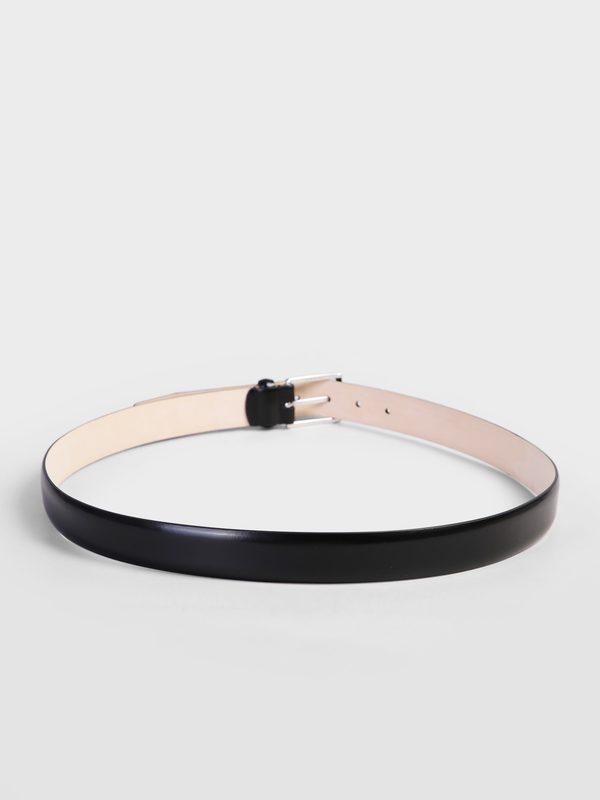 DELL'OGLIO - Black brushed leather belt
