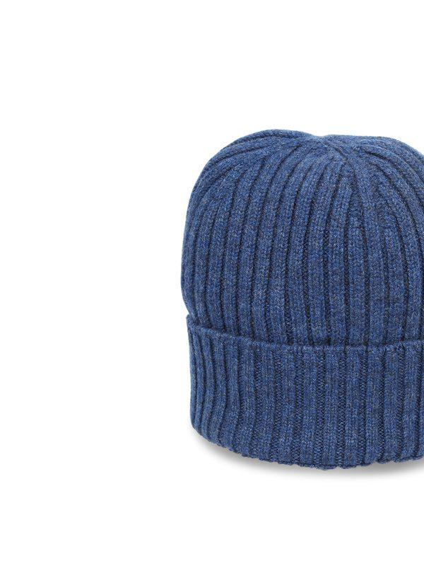 DELL'OGLIO - Blue melange cashmere beanie hat