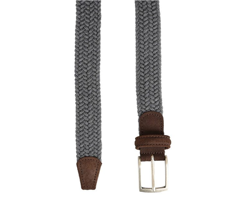DELL'OGLIO - Grey pleated flannel belt, brown detail
