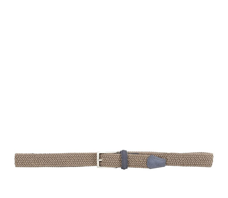 DELL'OGLIO - Beige pleated flannel belt, grey detail