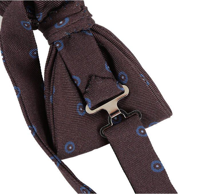 DELL'OGLIO - Brown silk bow-tie, contrast azure macro-polka dots