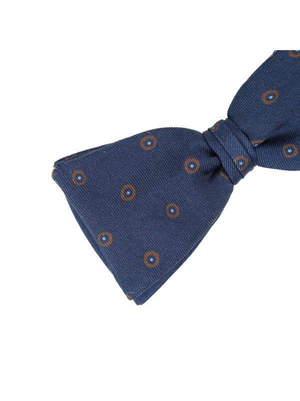 DELL'OGLIO - Blue silk bow-tie, contrast brown macro-polka dots