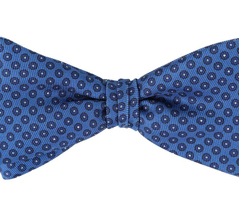 DELL'OGLIO - Azure silk bow-tie, contrast blue polka dots