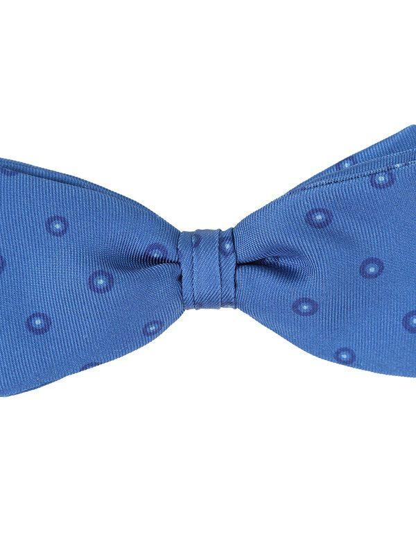 DELL'OGLIO - Azure silk bow-tie, contrast blue macro-polka dots