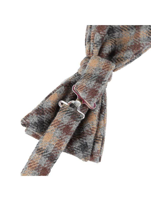DELL'OGLIO - Beige cashmere bow-tie contrast checks