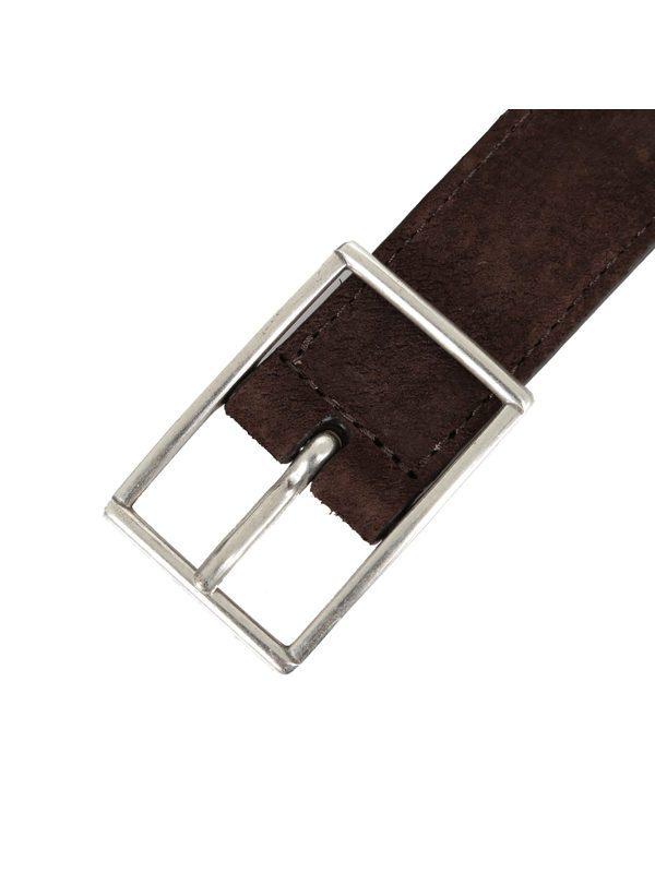 DELL'OGLIO - Grey pleated felt belt,  brown detail