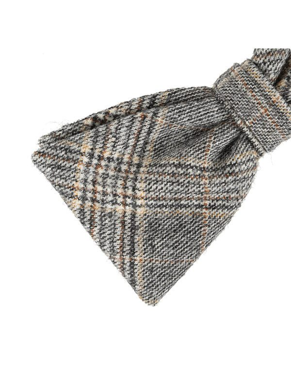 DELL'OGLIO - Beige tartan wool bow-tie, cream and brown detail