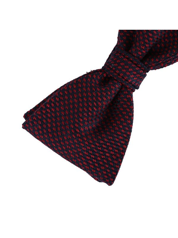 DELL'OGLIO - Blue and red hound's-tooth wool bow-tie