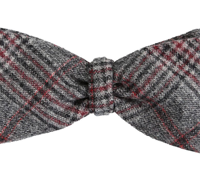 DELL'OGLIO - Dark grey tartan wool bow-tie red detail