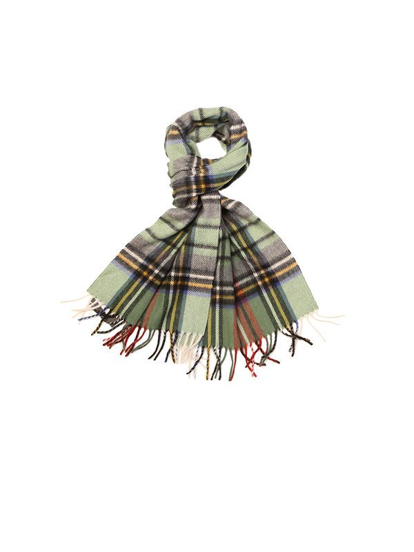 DELL'OGLIO - Green checked cashmere scarf