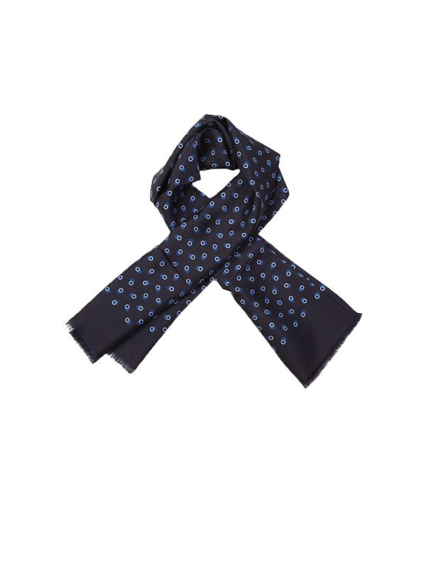 DELL'OGLIO - Dark night scarf with azure polka dots
