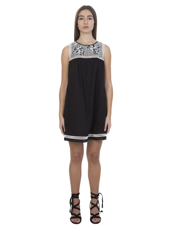 TORY BURCH - Embroidered black cotton dress
