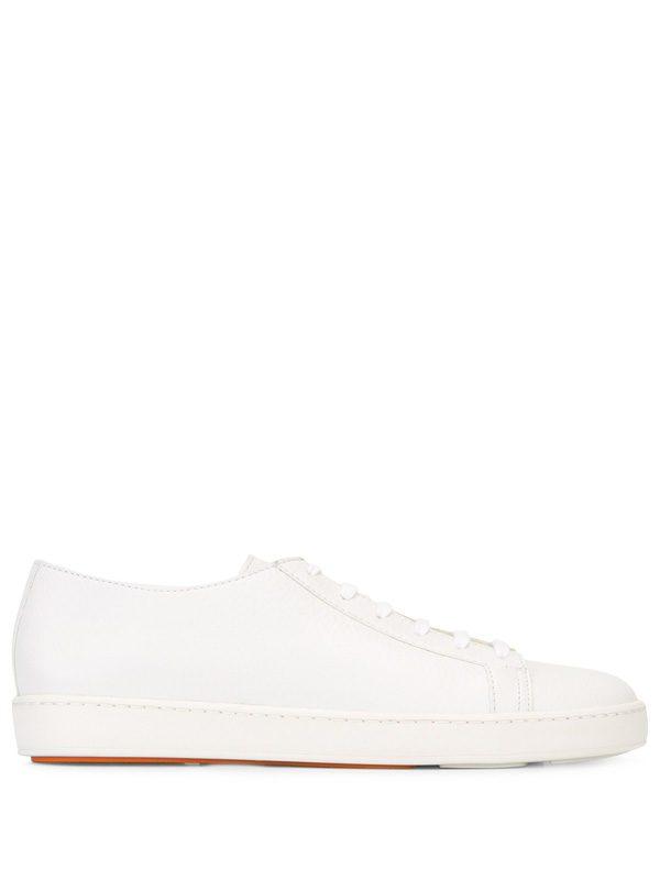 SANTONI - White leather sneakers