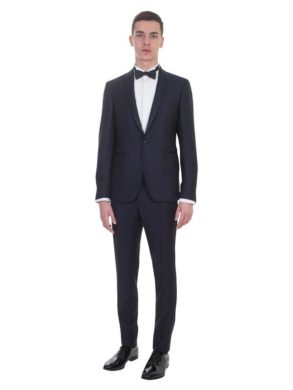 TAGLIATORE - Blue wool micropatterned tuxedo suit