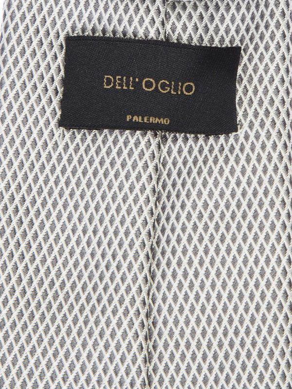 DELL'OGLIO - Micro diamonds silver silk tie