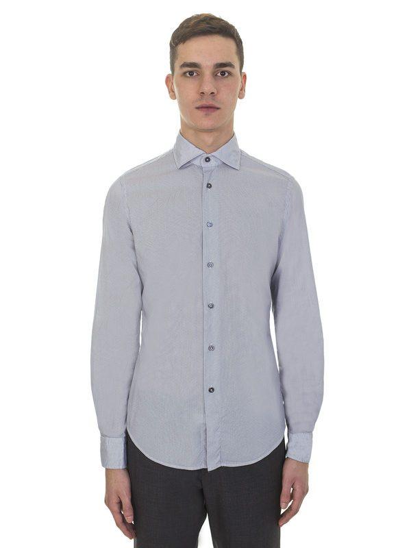 DELL'OGLIO - White cotton shirt with micro blue polka dots