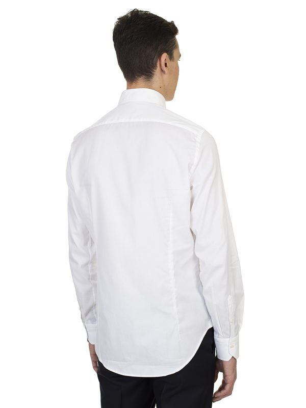 DELL'OGLIO - Micro jacquard white cotton shirt